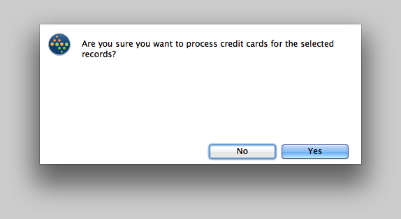 Confirm that the credit cards are supposed to be process for the selected Orders