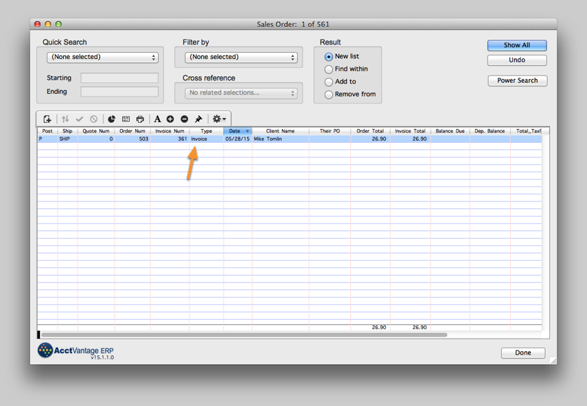 Highlight the Invoice that you want to find the Related Credit Memo for
