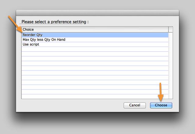 Select a preference setting.