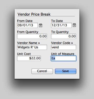 Enter the Vendor Price Break info.