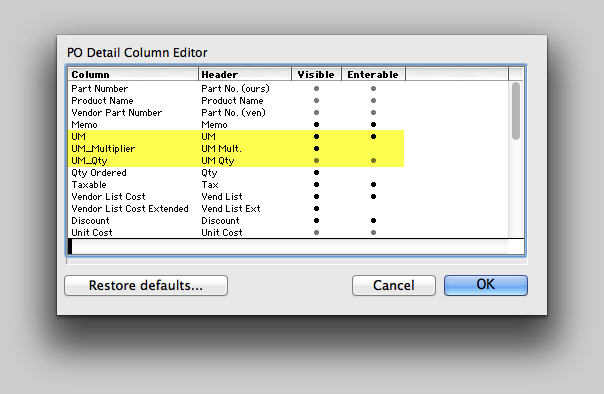 Enable UM columns to display on the Purchase Order detail.