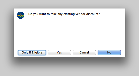 Do you want to take any existing Vendor Discount?