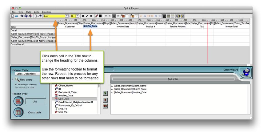Change headings & format rows.