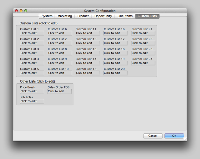 Custom Lists tab