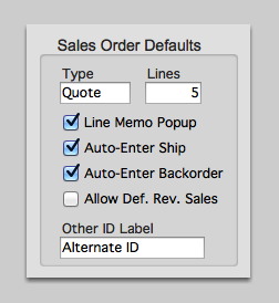 Sales Order Defaults