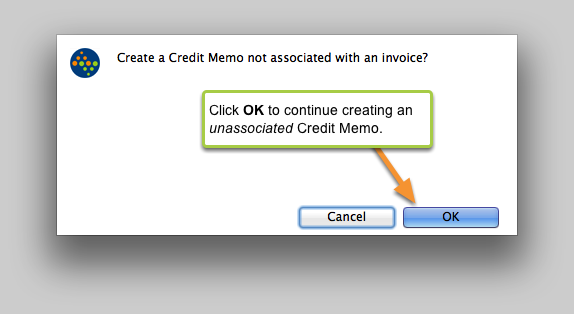 Create a Credit Memo not associated with an invoice?