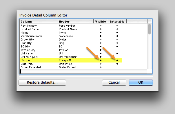 Enable the Margin columns in the Invoice Detail view.