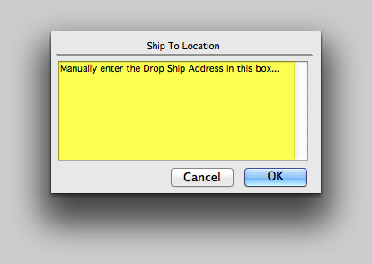 Manually enter a Ship To Location