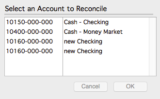Select the account to reconcile