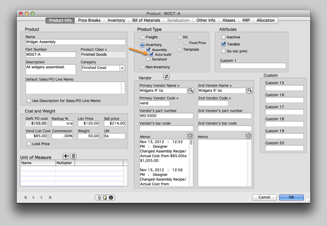 Enable Auto-build on the Assembly's Product record.