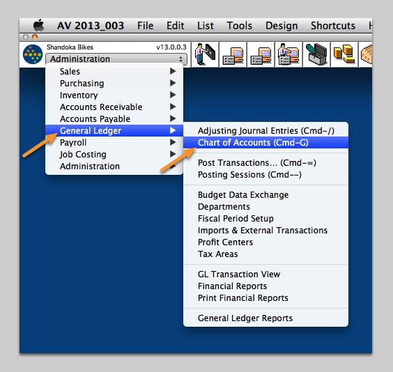Open the Chart of Accounts window