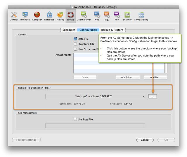 1. Make note of the Backup File Destination Folder