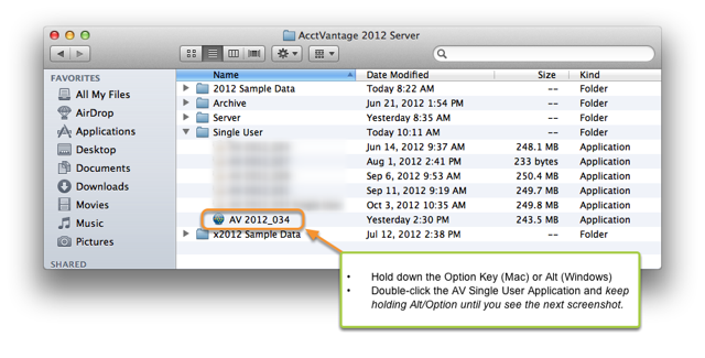 2. Open the AV Single User application