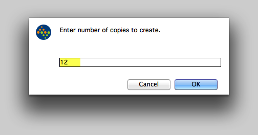 Enter number of copies to create.
