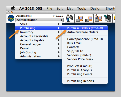 Open the Purchase Order window