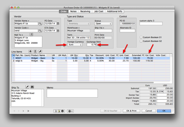 Enter the Purchase Order data.