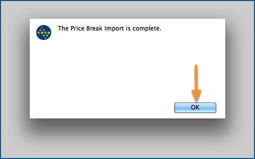 The Price Break Import is complete.