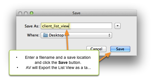 Enter Save As filename and location