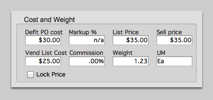 Cost and Weight