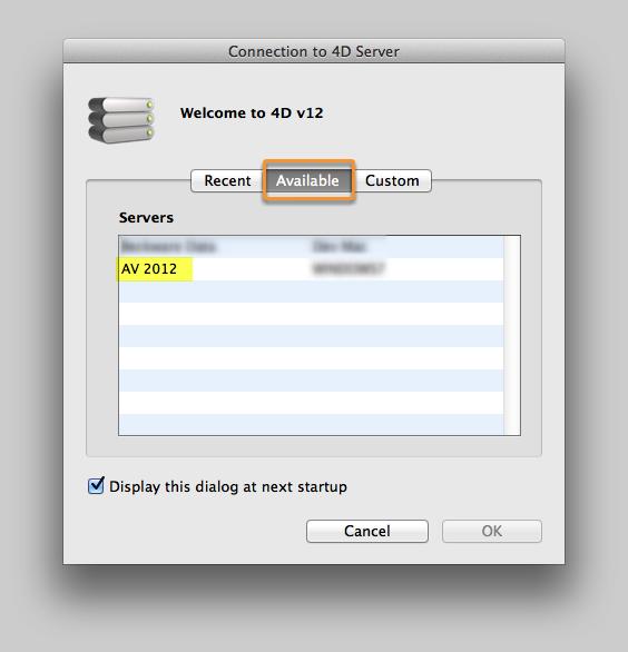 Open the AV Client Application and connect to the AV Server
