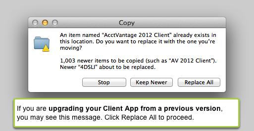 AcctVantage Client already exists...