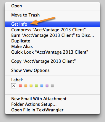 Navigate to the AcctVantage Client Info window.