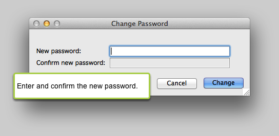 Enter/confirm the new password