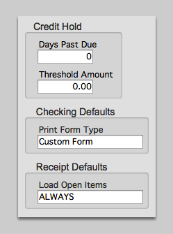 Credit Hold, Checking Defaults and Receipt Defaults