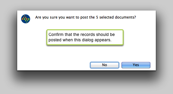 Are you sure you want to post the selected documents?