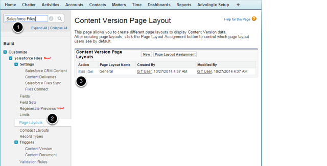 1. Select the Content Version Page Layout