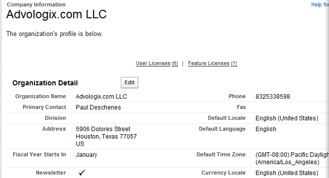 Company Information detail page