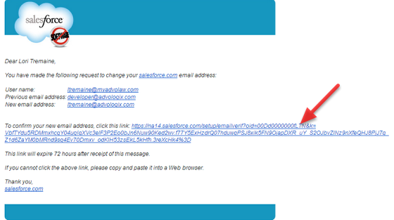 Confirmation email sent to NEW email address