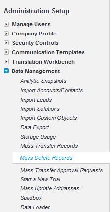 Navigate to Data Management