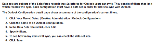 Defining Data Sets for Salesforce for Outlook