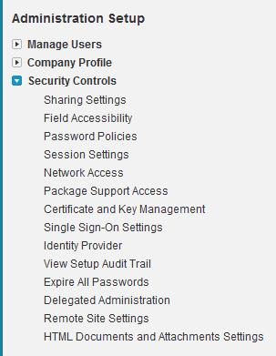 Administration Setup ~ Security Controls