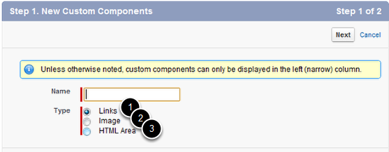Choose the Custom Component Type
