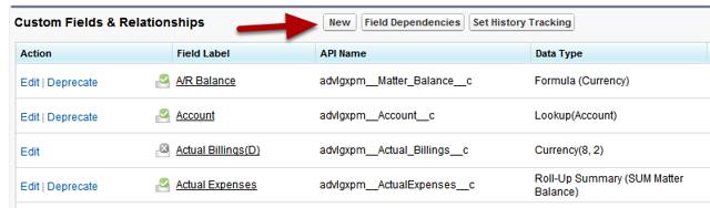 Now that you have navigated to the object where you wish to add the field, click New Field