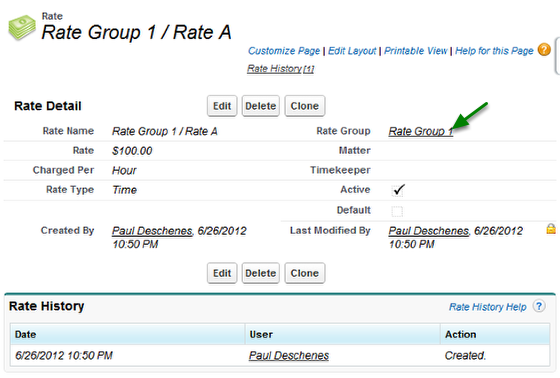 Rate Detail Page