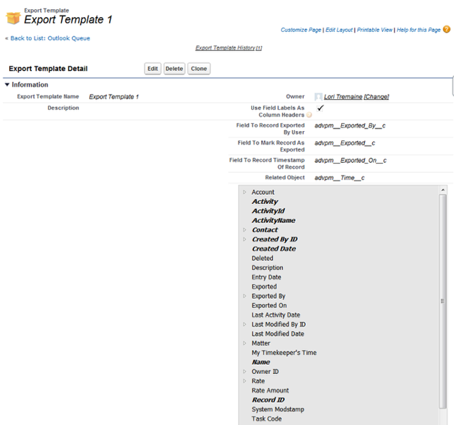 Export Template detail page