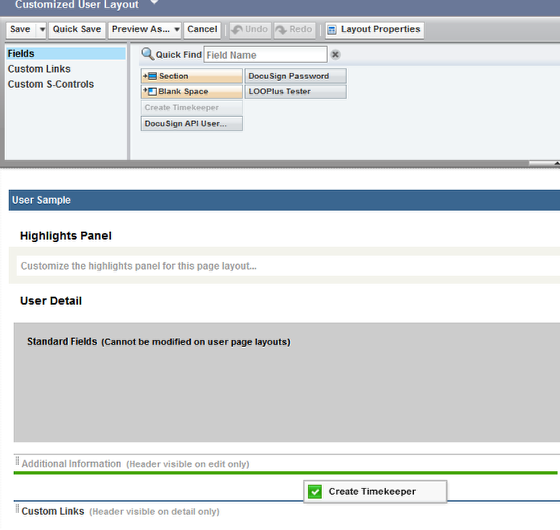 Option 2: Adding 'Create Timekeeper' to Your Customized User Layout