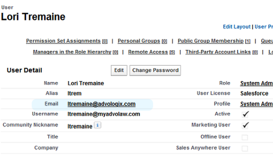 User Detail Page - email address shows change