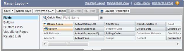 Drag & Drop the Fields, Buttons, Custom Links, Visualforce (VF) pages or Related Lists on to the page layout detail section.