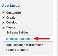 Navigate to Installed Packages