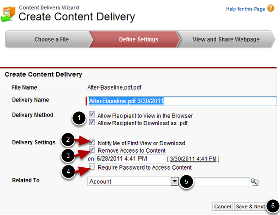 Define Settings for Content Delivery