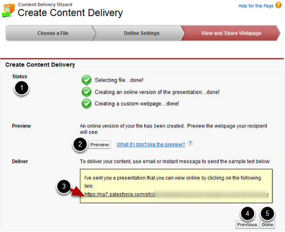 View and Share Webpage of Content Delivery