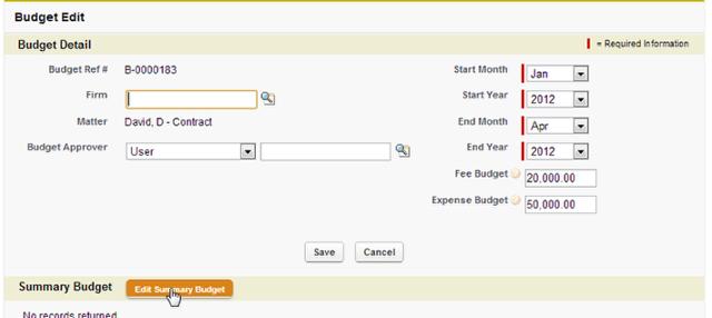Adding/Editing Summary Budget