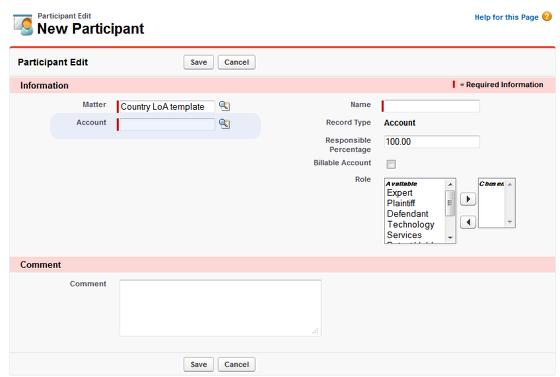 Account Participant creation screen