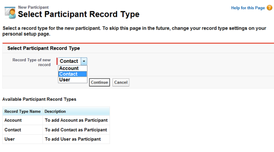Select Participants record type