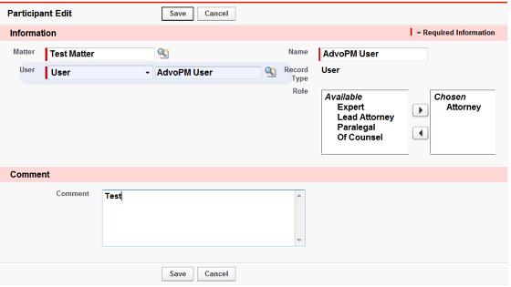 User Participant creation screen