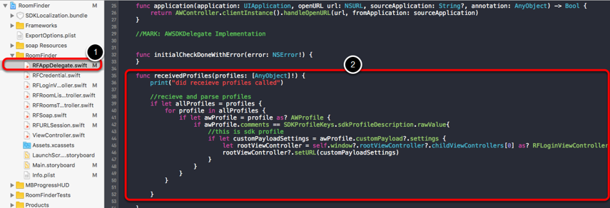 Implement Received Profiles in RFAppDelegate.swift